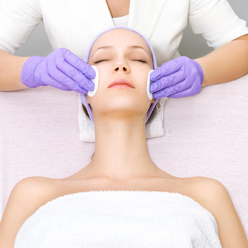 Young woman receiving beauty therapy stock image