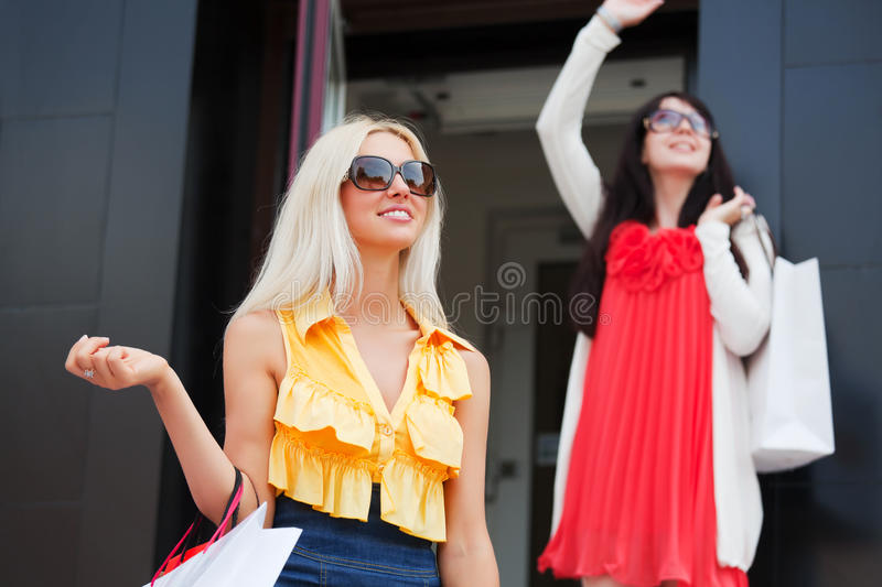 Download Two Young Fashion Women With Shopping Bags At The Mall Stock Photo - Image of clothes, businesswoman: 20663580