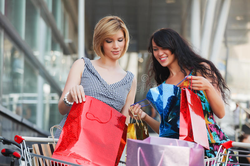 Download Two Young Fashion Women With Shopping Bags Stock Photo - Image: 25738128