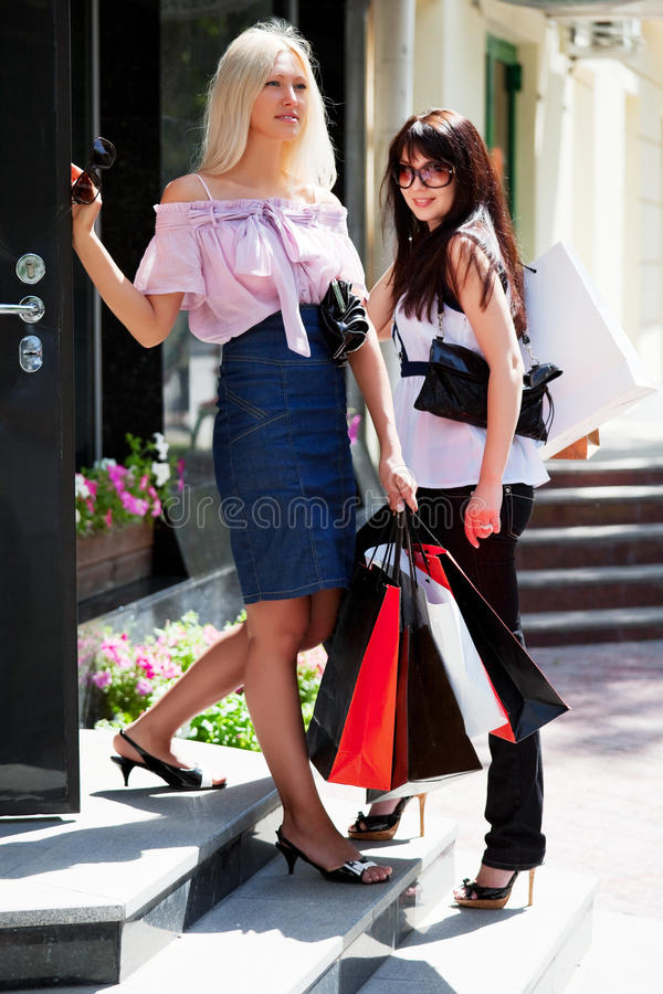 Download Two Young Fashion Women With Shopping Bags Stock Image - Image: 15149679