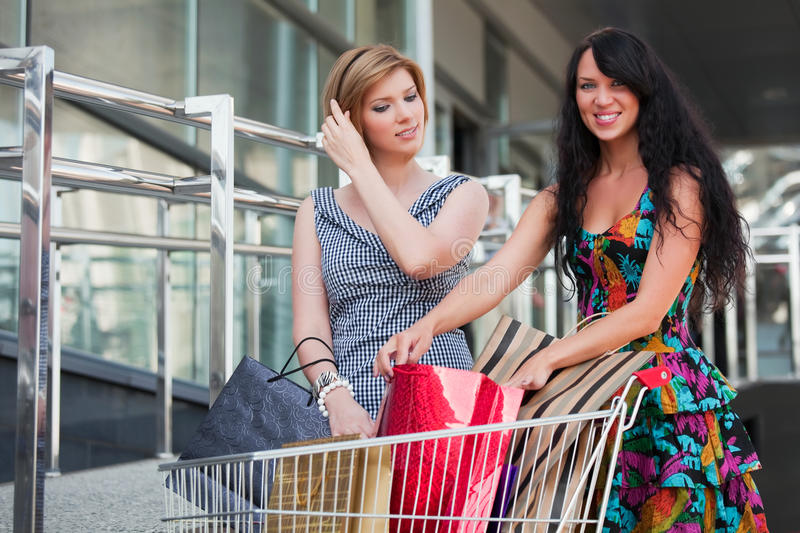 Young women with shopping cart stock image