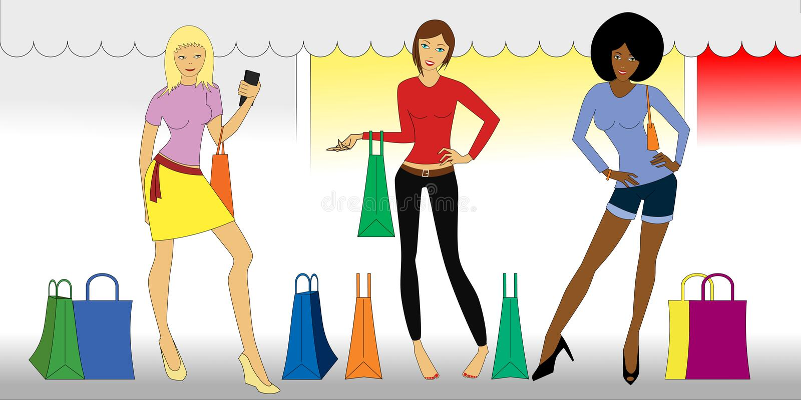 Young women shopping with lots of bags vector illustration