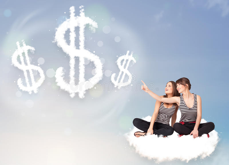 Young women sitting on cloud next to cloud dollar signs. Pertty young women sitting on cloud next to cloud dollar signs stock image