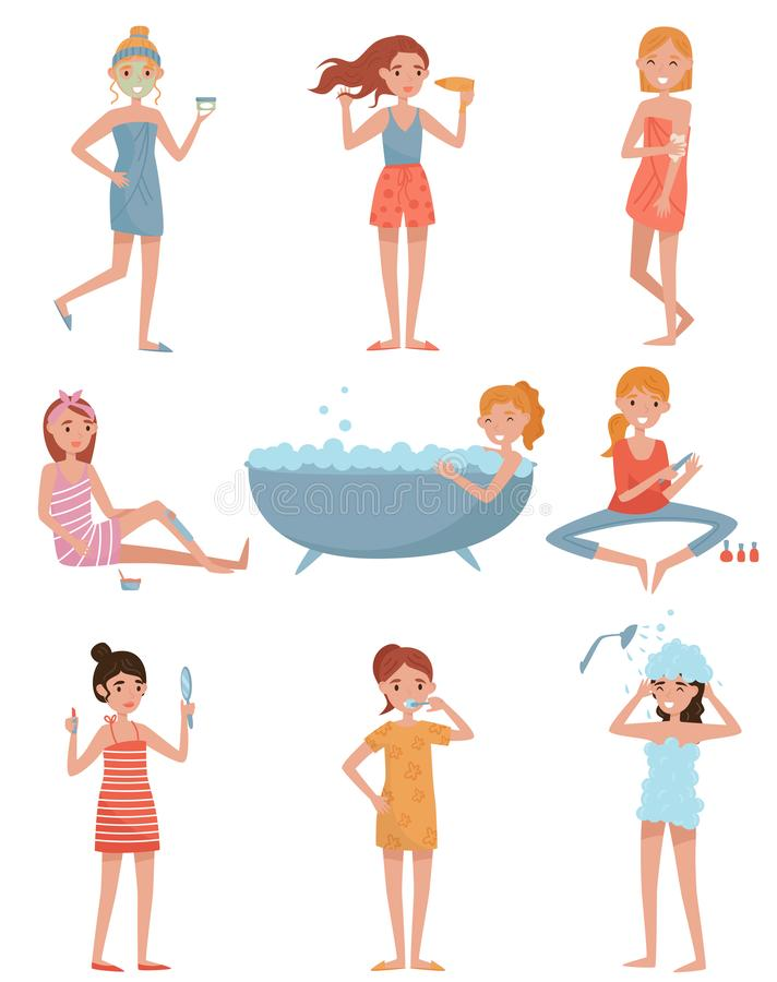 Young women taking care of herself set, girl applying mask, drying her hair, doing wax depilation and manicure, taking. Bath vector Illustrations isolated on a stock illustration