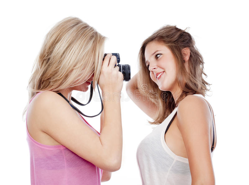 Young Women Taking Pictures Stock Photography