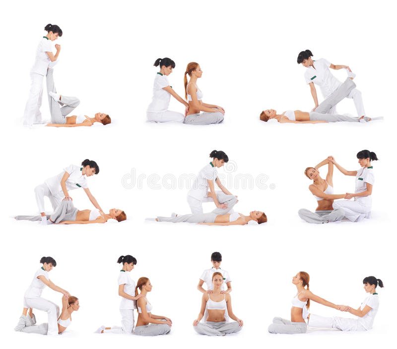 Young women on a Thai massage procedure. A collage of young and attractive redhead Caucasian women on a Thai massage procedure with female therapists. The images royalty free stock images