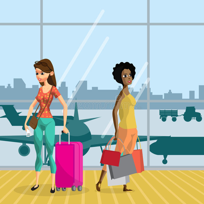 Young women with things in the airport terminal awaiting the flight. Girls travel with luggage ready for the departure of the air. Craft. Flat vector cartoon vector illustration