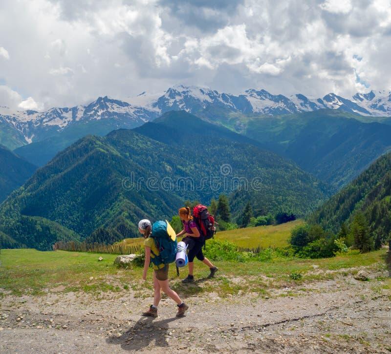 Download Young Women Trekking In Svaneti, Stock Photo - Image: 32413410