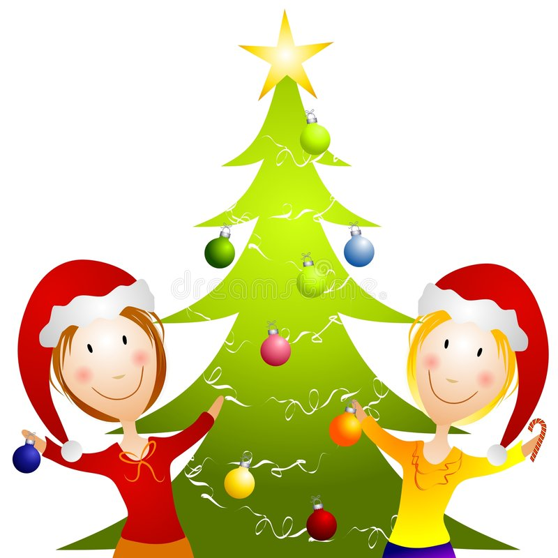 Young Women Trimming Christmas Tree. A clip art illustration featuring 2 smiiling happy young women decorating a Christmas tree in their santa hats vector illustration