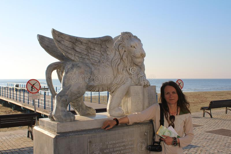 Winged Lion Statue At Larnaca In Cyprus Editorial