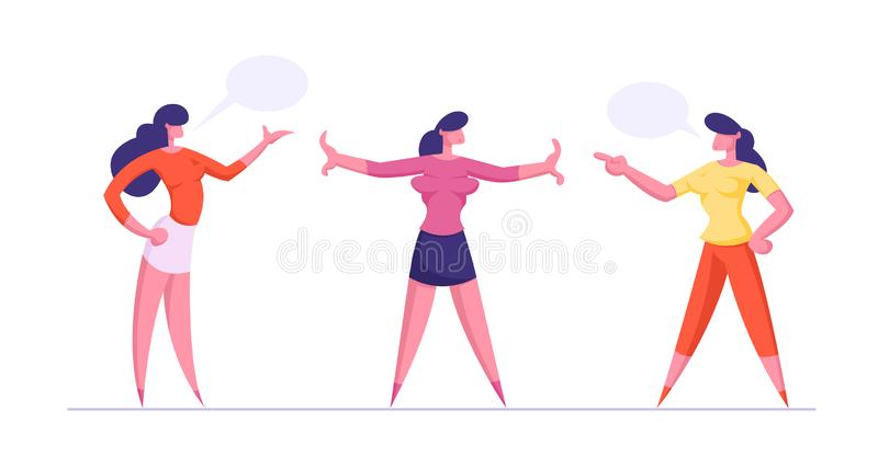 Young Women Yelling on Each Other, Girl Stand Between them Prevent Fight. Businesswomen Disagreement, Work Conflict vector illustration