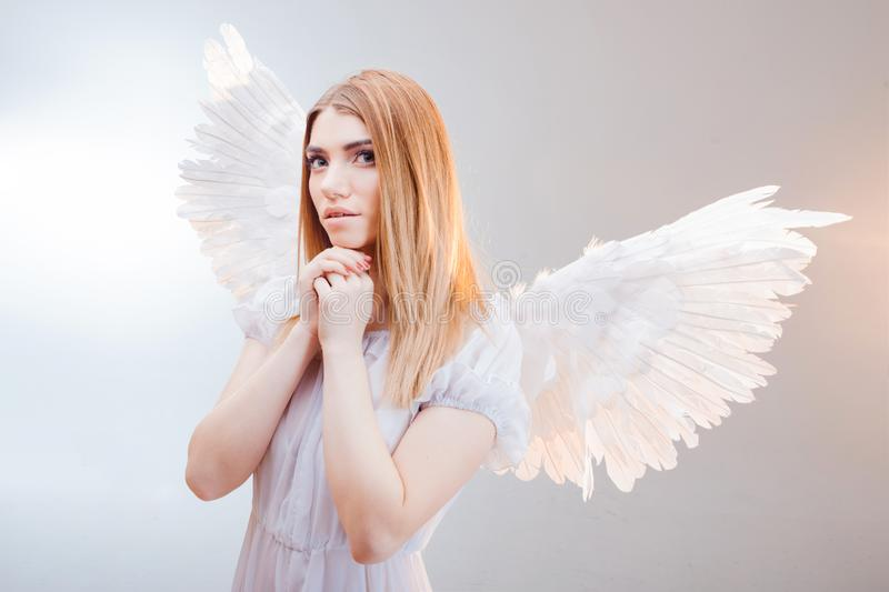 An angel from heaven. Young, wonderful blonde girl in the image of an angel with white wings. royalty free stock photography