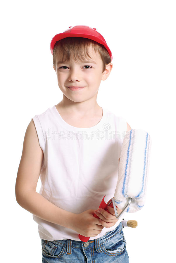 Download Young worker stock photo. Image of child, decorate, paintbrush - 21012980