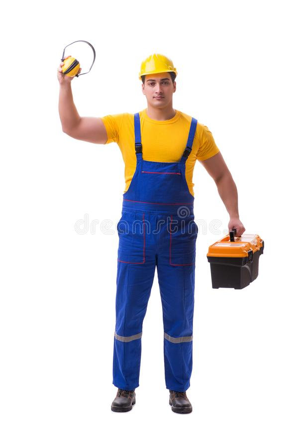 The young worker on coveralls isolated on white royalty free stock photography