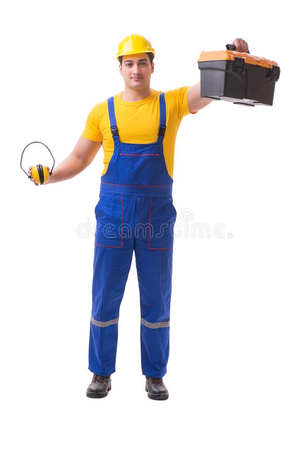 The young worker on coveralls isolated on white stock photo