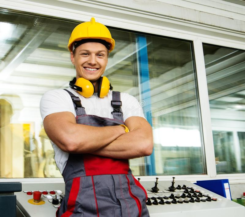 Download Young worker on a factory stock illustration. Image of keyboard - 39967453