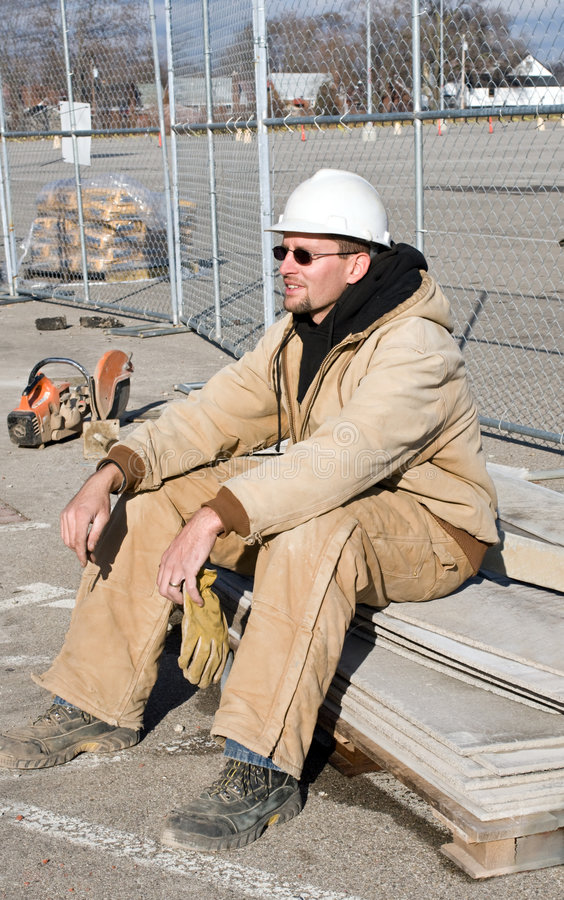 Download Young Worker at Rest stock photo. Image of adult, coat - 7507292