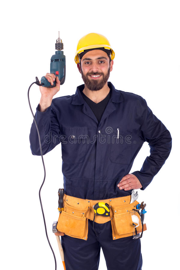 Young worker smiling stock images