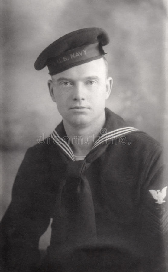 Young World War 2 Navy Recruit. In navy blues royalty free stock images