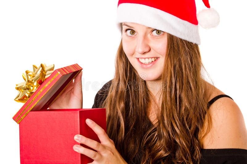 Young Xmas woman isolated stock images