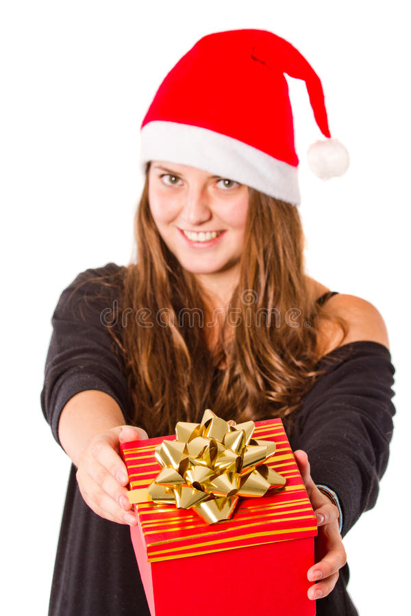 Young Xmas woman isolated stock image
