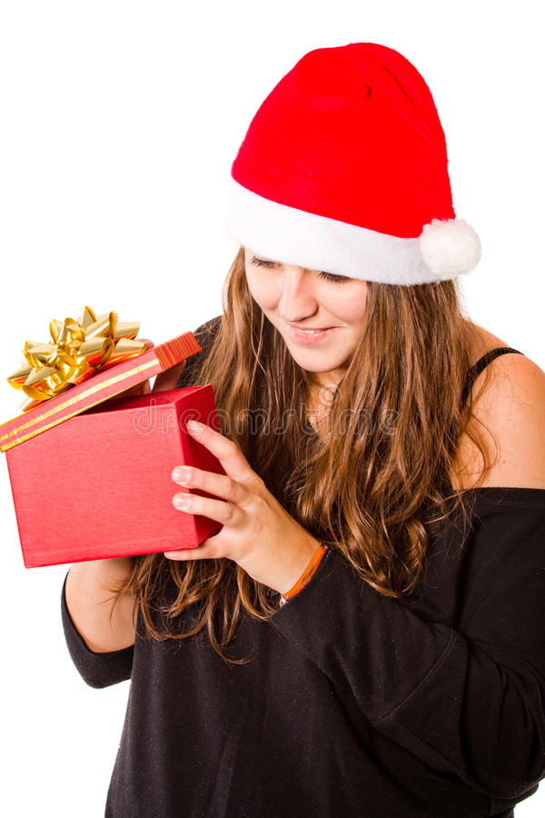 Young Xmas woman isolated stock photography