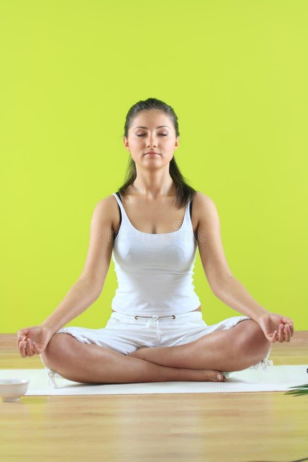 Young yoga female doing yogatic exericise stock image
