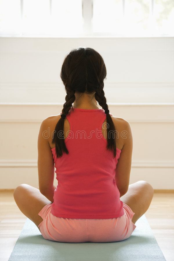 Download Young yoga woman stock photo. Image of asian, back, holistic - 4247078