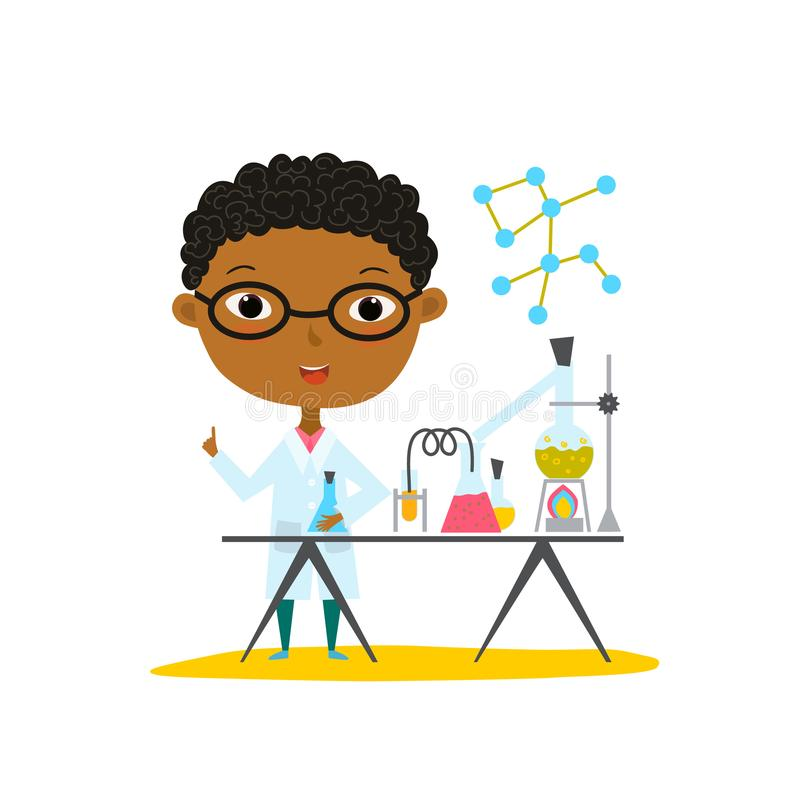 Youngest scientist. Baby kid doing chemistry experiments. Holding flask and test tube in hands. Flat style cartoon illustra stock illustration