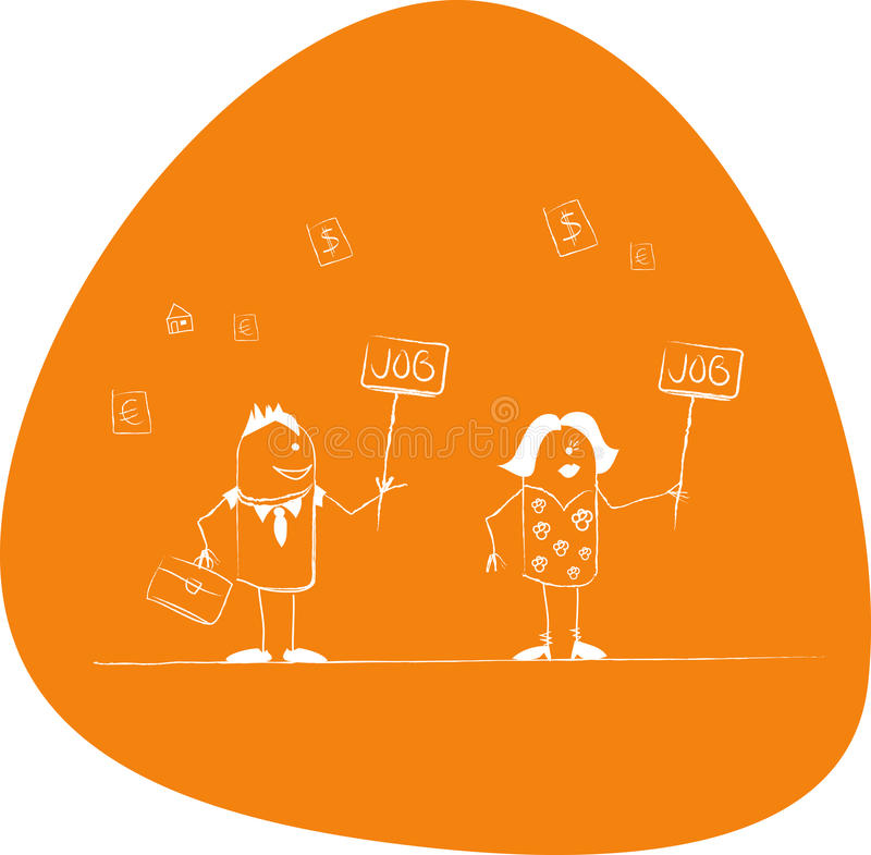 Youngs looking for a job. Boy and girl looking for a job stock illustration