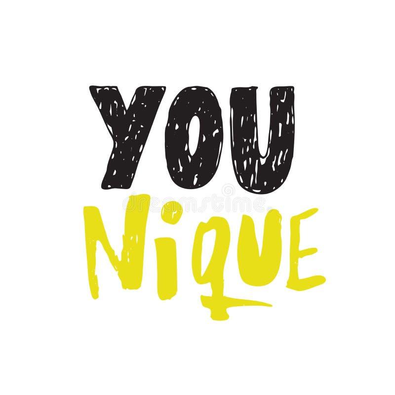 Younique unikalny Ręki literowania plakat Motywacyjny iinscription ilustracja wektor