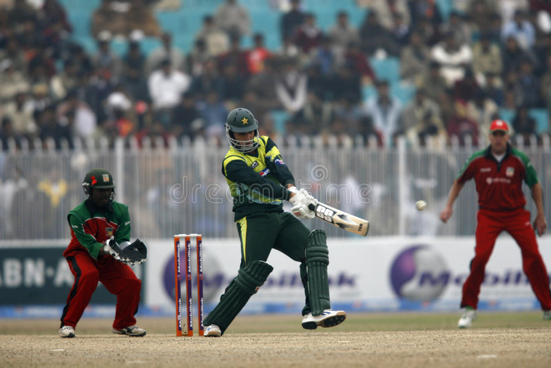 Younis Khan. Pakistani Player Younis Khan Plays a shot against Zimbabwe royalty free stock image