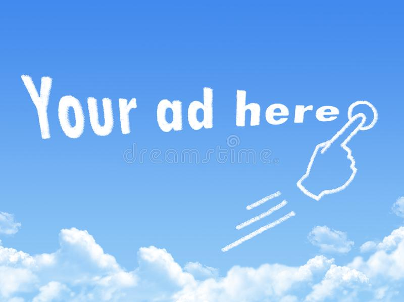 Your ad here message cloud shape vector illustration