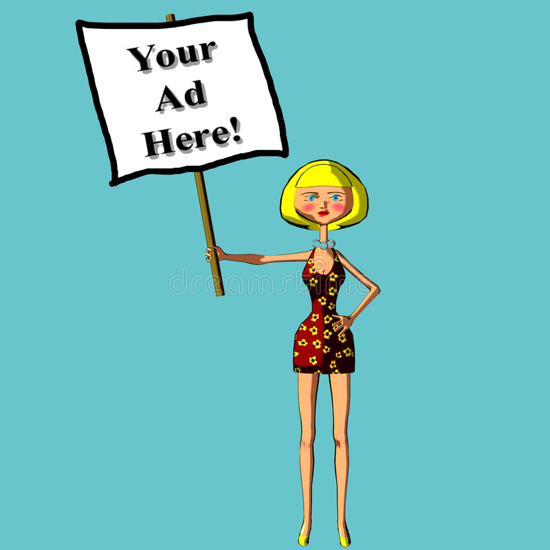 Your ad here sign blond woman illustration vector illustration