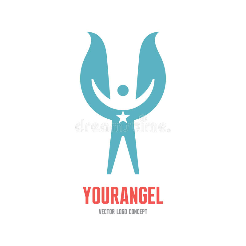 Your angel - vector logo template concept illustration. Human character with wings and star sign. Design element vector illustration