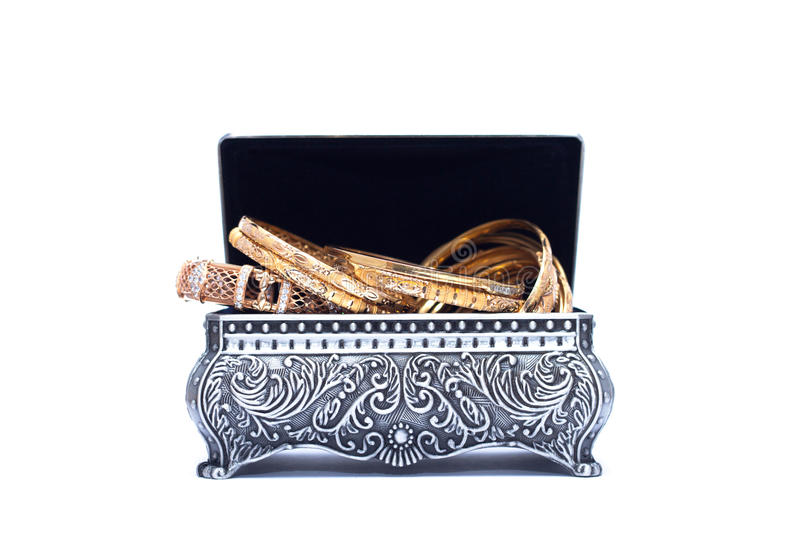 Download Luxury Gold Bracelet In The Opened Silver Antique Chest Stock Illustration - Illustration of decorative, container: 30146275