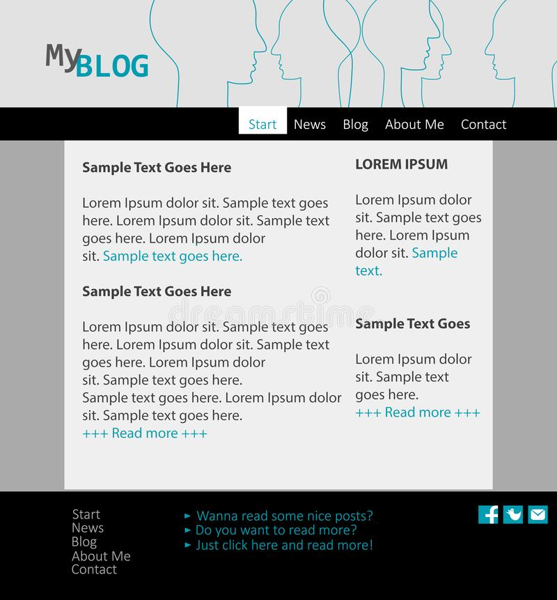 Your Blog! Personal presentation with your own blog. Modern flat design website template. royalty free illustration