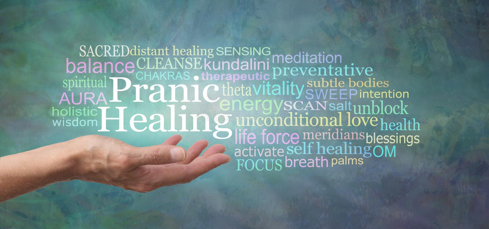 Your body is designed to self heal - try Pranic Healing. Female hand with open palm and the words PRANIC HEALING above surrounded by a relevant word cloud on a stock image
