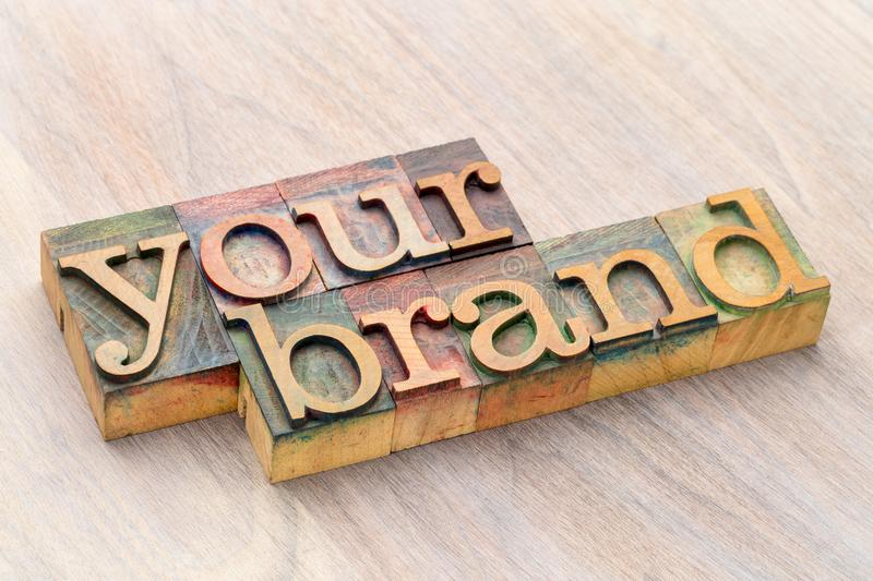 Your brand word abstract in wood type royalty free stock photography
