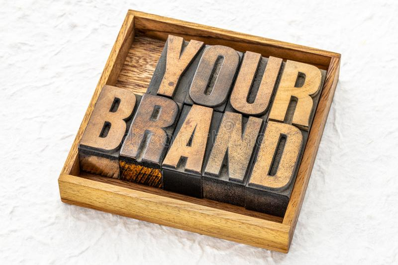 Your brand word abstract in wood type stock photography