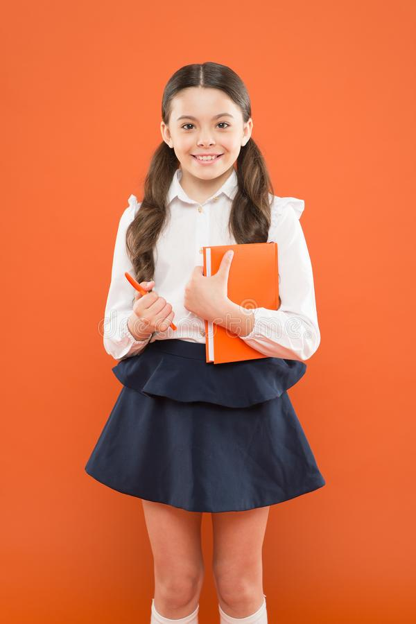 Your career path begins here. Inspiration for study. Back to school. Knowledge day. Possible everything. Schoolgirl. Enjoy study. Kid school uniform hold royalty free stock image