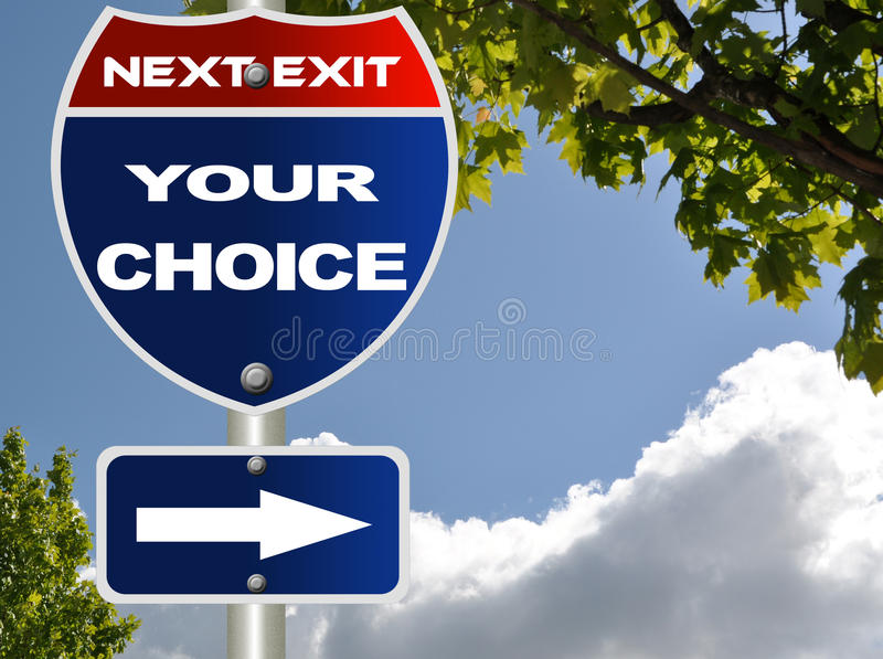 Your choice road sign. With cloud blue sky stock illustration