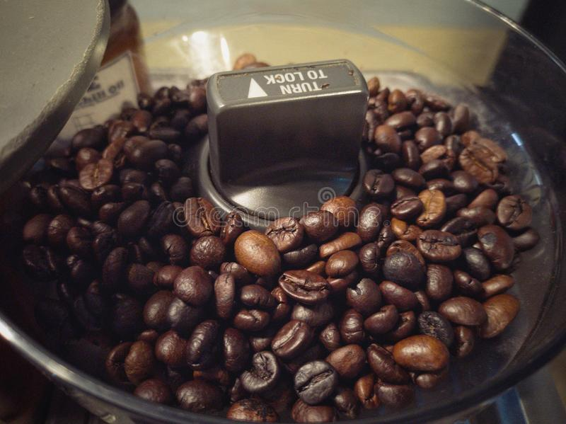 Roasted black coffee beans stock photography