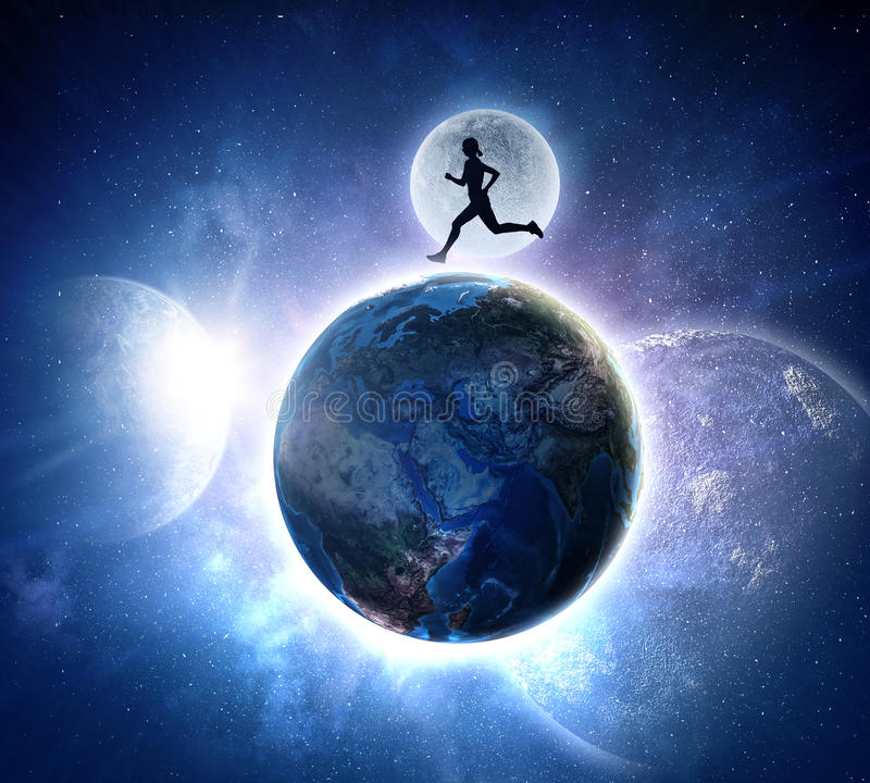 Your endless energy and motivation. Silhouette of athlete woman running on Earth planet. Elements of this image are furnished by NASA stock photos