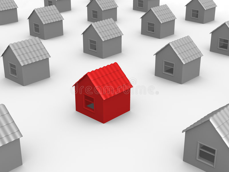 Your home. Gray homes and red home in center stock illustration