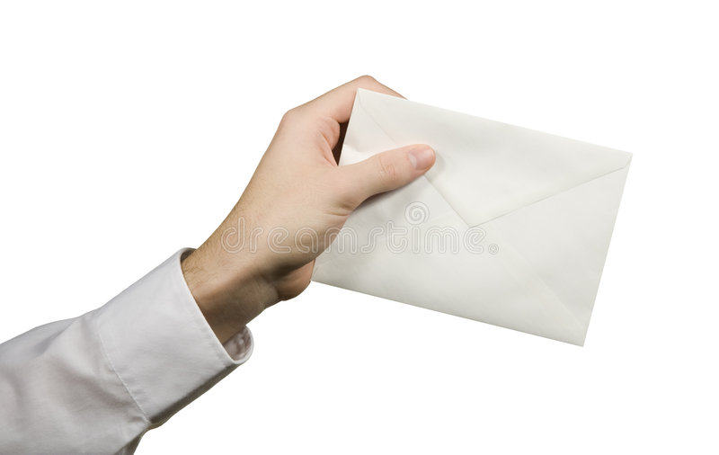 Your letter (mail). Hand serve close envelope (deliver of new mail stock image