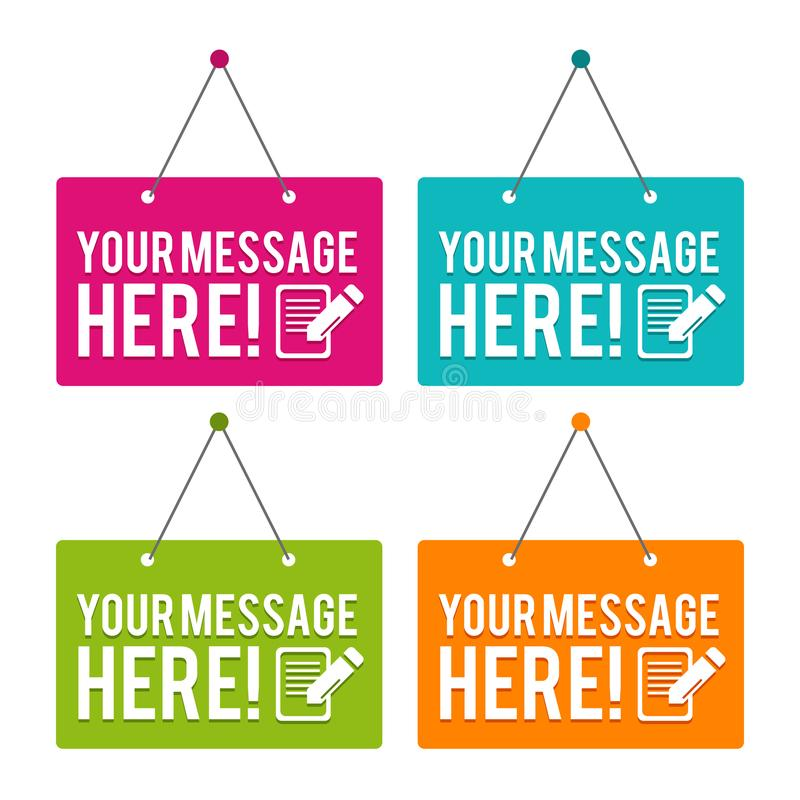 Your Message here hanging Door Sign. Eps10 Vector stock illustration