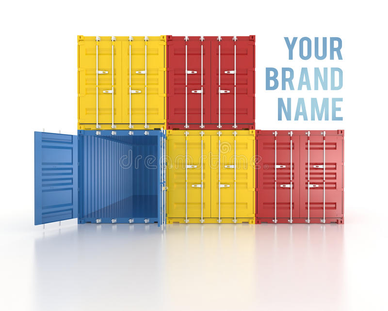 Your name colour stacked shipping containers on white background. Your brand name Set of red, blue and yellow metal freight shipping containers on white vector illustration