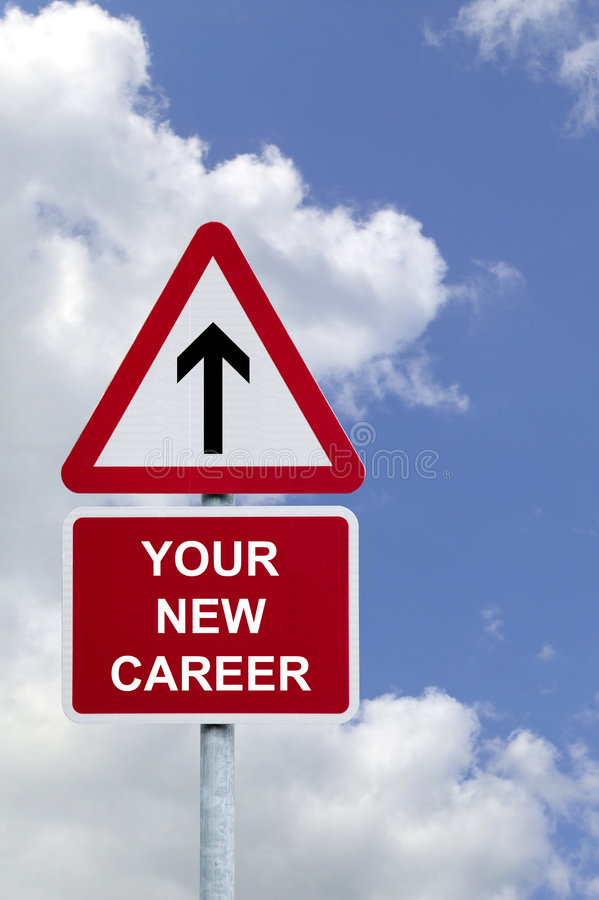 Your New Career Sign. Sign in the sky for 'Your New Career' , concept image for employment related themes royalty free stock image