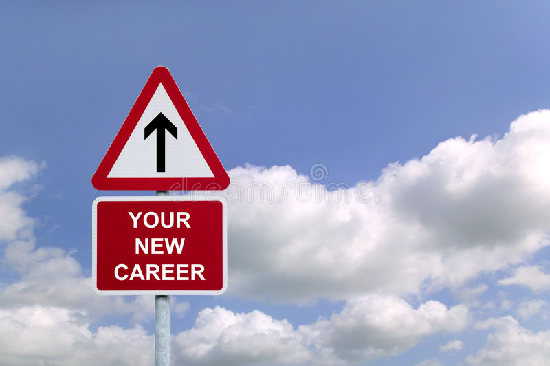 Your New Career Signpost. Signpost in the sky for 'Your New Career' , concept image for employment related themes stock image